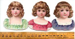 3 Découpis Bustes Jolies Jeunes Filles Enfants Avant 1900 A Voir! - Découpis