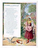 Chromo Récompense Scolaire Grand Format. 1937, Mention D'honneur. Fable De La Fontaine : La Laitière & Le Pot Au Lait. - Trade Cards