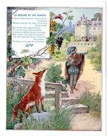 Chromo Récompense Scolaire Grand Format. 1937, Mention D'honneur. Fable De La Fontaine : Le Renard Et Les Raisins. - Trade Cards