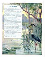 Chromo Récompense Scolaire Grand Format. 1937, Mention D'honneur. Fable De La Fontaine : Le Héron. - Trade Cards