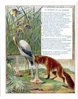 Chromo Récompense Scolaire Grand Format. 1937, Mention D'honneur. Fable De La Fontaine : Le Renard Et La Cigogne. - Trade Cards