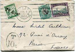AFRIQUE DU SUD LETTRE DEPART DURBAN FEB 8 1933 TAXEE A L'ARRIVEE EN FRANCE - Storia Postale
