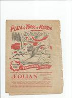 PROGRAMME PLAZA DE TOROS DE MADRID 1954 Taureau Espagne Corrida - Programme