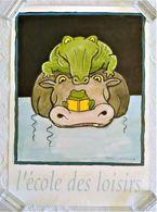AFFICHE ANCIENNE ORIGINALE ILLUSTRATION TOMI UNGERER POUR L'ECOLE DES LOISIRS 1990 Crocodile Hippopotame Grenouille - Afiches