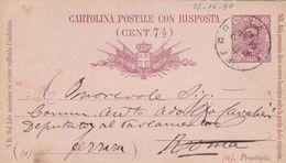 REGNO- ITALIA - FERRARA - INTERO POSTALE CON RISPOSTA  C.7 1/2 - VIAGGIATO  PER ROMA - 1878-00 Humbert I