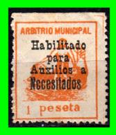 CADIZ, 1-PESETA,ARBITRIO MUNICIPAL HABILITADO PARA AUXILIO A NECESITADOS - Impuestos De Guerra