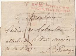 """LSC Curieuse Lettre De BORDEAUX à NIORT Puis Retour à BORDEAUX.+ CACHET """"Bau DE POSTES CHbre DES DEPUTES DES DEPts"""" - 1801-1848: Vorläufer XIX"""