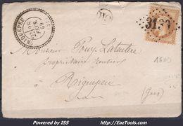 FRANCE EMPIRE N° 28A SUR LETTRE POUR RIGUEPEU GC 3139 RIGUEPEU GERS + CAD PERLÉ DU 28/02/1869 ERREUR RIQUEPEU RR - 1863-1870 Napoleon III With Laurels
