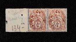 FRANCE - N° 110 En PAIRE - Variété : Point Sous Le C - Tenant à Normal - 1900-29 Blanc