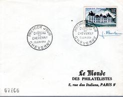 LETTRE 1ER JOUR 1954 - CHATEAU DE CHEVERNY  - SIGNATURE DU GRAVEUR PHEULPIN - - Kastelen