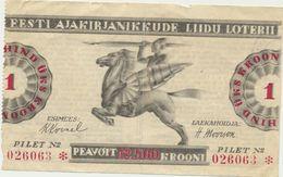 78-928-147 Estonia Estland Lottery Ticket Journalist Union - Biglietti Della Lotteria