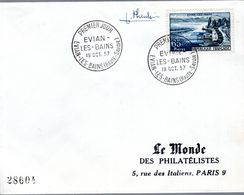 LETTRE 1ER JOUR 1957  - EVIAN LES BAINS, SOURCE THERMALE  - SIGNATURE DU GRAVEUR PHEULPIN - - Kuurwezen