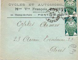 V7SE Enveloppe Timbrée Timbre Exposition Paris 1925 Entête 56 Pontivy Cycles Autos Vve François Danet Au Champ De Foire - Postmark Collection (Covers)
