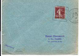Lettre De 1930 - DAGUIN De CHAZELLES (Loire) - Tarif 15c SEMEUSE Des IMPRIMÉS - Francia