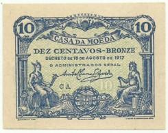 CÉDULA De 10 Centavos - 15.08.1917 - SÉRIE CA - M. A. N.º 8b - CASA Da MOEDA - Portugal Emergency Paper Money - Notgeld - Portugal