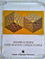 AFFICHE ORIGINALE PUBLICITE PAR VICTOR VASARELY POUR LA CAISSE D'EPARGNE 1985 - Afiches