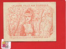 Chromo Question Devinette  Optique Jeune Fille Aux écureuils Trouvez Les Arbres Imp Dufrenoy  Paris - Trade Cards