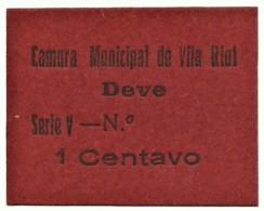 VILA RIAL ( REAL ) - RARA - Cédula 1 CENTAVO - M.A. 2453a - Série V - Papel Vermelho - Emergency Paper Money Notgeld - Portugal