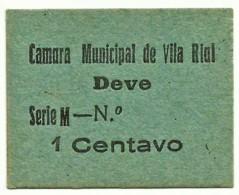 VILA RIAL ( REAL ) - RARA - Cédula 1 CENTAVO - M.A. 2453a - Série M - Papel Azul - Emergency Paper Money Notgeld - Portugal