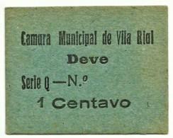 VILA RIAL ( REAL ) - RARA - Cédula 1 CENTAVO - M.A. 2453a - Série Q - Papel Azul - Emergency Paper Money Notgeld - Portugal