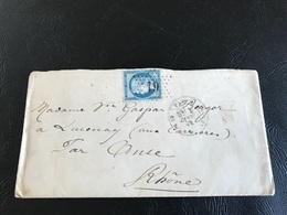 Courrier - 1874 - PARIS  à LUCENAY Par LYON- Timbre 25c  Y&T N°60A - Marcophilie (Lettres)