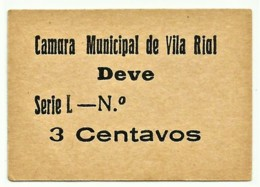 VILA RIAL ( REAL ) - RARA - Cédula 3 CENTAVOS - M.A. 2455a - Série L - Papel Creme - Emergency Paper Money Notgeld - Portugal