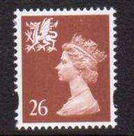 GB Wales 1997-8 26p Chestnut, No 'p' In Value, Elliptical Perf Regional Machin, MNH, SG 80 - Wales