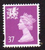 GB Wales 1997-8 37p Mauve, No 'p' In Value, Elliptical Perf Regional Machin, MNH, SG 81 - Wales