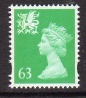 GB Wales 1997-8 63p Emerald, No 'p' In Value, Elliptical Perf Regional Machin, MNH, SG 82 - Wales