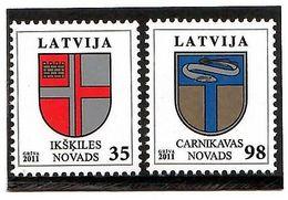 Latvia 2011 .COA Of Ikskile, Carnikava. 2v: 35, 98.  Michel # 801-02 - Lettonie