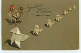 N°15619 - Carte Gaufrée - Fröhliche Ostern - Coq Marchant à Côté De Cocottes En Papier - Origamie - Pasqua