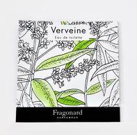 échantillons De Parfum  POCHETTE  VERVEINE   De  FRAGONARD  EDT   2 Ml - Echantillons (tubes Sur Carte)