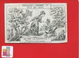 Chromo Question Devinette Optique  Nourrice Trouvez L' Enfant Nurse Poussette Vide Lith Ruinet Paris - Trade Cards
