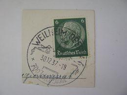 Deutsches Reich Poststempel 1937 , Weilheim   O - Germany