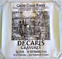 AFFICHE RECTO VERSO ORIGINALE ANCIENNE DECARIS GRAVURES NOTRE DAME DE PARIS 1978 Galerie Hemery Le Marais - Afiches
