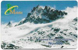 Bhutan - BMobile - Snowy Mountain (Type #2) - GSM Refill 100Nu, Used - Bhoutan