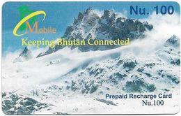 Bhutan - BMobile - Snowy Mountain (Type #3) - GSM Refill 100Nu, Used - Bhoutan