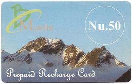Bhutan - BMobile - Prepaid Recharge Card, Mountain - GSM Refill 50Nu, Used - Bhoutan