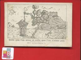 Chromo Question Devinette Optique Celle Qu'on Aime Et Celle Qu'on Aime Pas Mort Squelette Marianne  Imp Lyon - Trade Cards