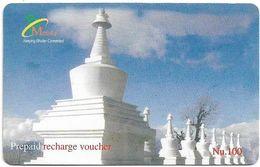 Bhutan - BMobile - White Stupas - GSM Refill 100Nu, Used - Bhoutan