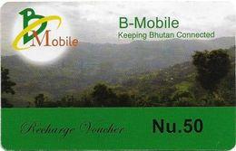 Bhutan - BMobile - Green Field Landscape- GSM Refill 50Nu, Used - Butan