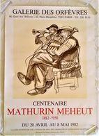 AFFICHE ANCIENNE ORIGINALE CENTENAIRE MATHURIN MEHEUT Galerie Des Orfèvres Paris 1 Musiciens 1982 - Afiches