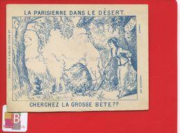 Chromo Question Devinette Optique La Parisienne Dans Le Désert Cherchez Grosse Bête Imp Dufrénoy Paris Pyramides Egypte - Trade Cards