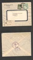 123gone. Chile - Cover - 1950 16 Nov Stgo Banco De Chile Registr Label Mult Fkd Env Rate 5,80$.Ex-Prof West UK Airmails - Chile