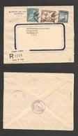 123gone. Chile - Cover - 1951 6 Jan Stgo To USA Registr Banco De Chile Registr Label Mult Fkd Env $12,20 Rate. Ex-Prof W - Chile