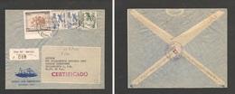 123gone. Chile - Cover - 1951 12 July Valp To USA Pha Registr Mult Fkd Air Env Illustr+reg Label Banco Sud Americano, Re - Chile
