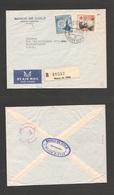 123gone. Chile - Cover - 1961 31 May Punta Arenas To USA Pha Regtr Mult Fkd Env + Reg Label Banco De Chile. Ex-Prof West - Chile