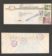 123gone. Chile - Cover - 1963 17 Oct Stgo To USA Pha Regiistr Illustr Mult Fkd Air Env  Rate $1,45 Esc+ Reg Label Banco - Chile