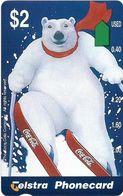 Australia - Telstra (Anritsu) - 1996 Coca Cola Complimentary - M450 - Bear Skiing 10/20 - 09.1996, 2$, 2.000ex, Mint - Australia