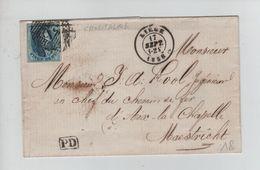 292PR/ TP 7 S/LSC C.Liège 17/9/1858 + Oblitération à Barres 73 Tarif Frontalier C.PD > Maastricht C.d'arrivée - Postmark Collection
